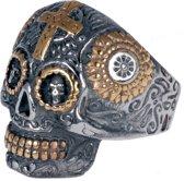 Herenring edelstaal Biker Skull Cross-19mm