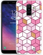 Galaxy A6 Plus 2018 hoesje Pink-gold-white Marble