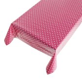 Buiten tafelkleed/tafelzeil roze polkadot 140 x 240 cm - Rechthoekig - Tuintafelkleed tafeldecoratie
