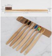 KELERINO. Bamboe Tandenborstel Zacht/medium - 4 stuks - 4 verschillende kleuren