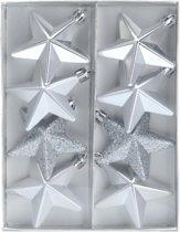 Kerstballen ster zilver 6,5 cm - zilveren kerstboomversiering