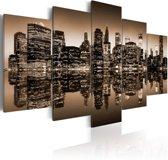 Schilderij - Melancholische New York City - 5 stuks