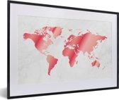 Foto in lijst - Roze-getinte wereldkaart met marmeren achtergrond fotolijst zwart met witte passe-partout 60x40 cm - Poster in lijst (Wanddecoratie woonkamer / slaapkamer)
