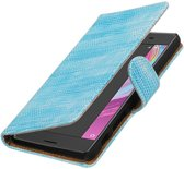Lizard bookstyle / book case/ wallet case Hoes voor sony Xperia X Performance Turquoe