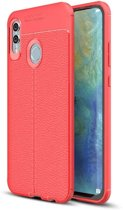 Teleplus Huawei P Smart 2019 Leather Textured Silicone Case Red + Nano Screen Protector hoesje