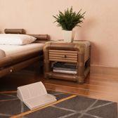 Nachtkastje Bamboo Donkerbruin (Incl Nachtlamp) - nacht kastje - kastje slaapkamer - Nachtkast slaapkamer