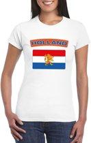 T-shirt met Nederlandse vlag wit dames XL