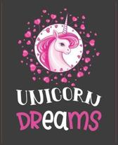 Unicorn dreams: Journal and Notebook for Girls - Composition Size (7.5''x 9.25'') With Lined and Blank Pages, Perfect for Journal, Writi