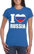 Blauw I love Rusland fan shirt dames S