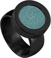 Quiges RVS Schroefsysteem Ring Zwart Glans 17mm met Verwisselbare Glitter Turkoois 12mm Mini Munt