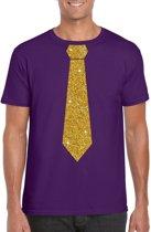 Paars fun t-shirt met stropdas in glitter goud heren S