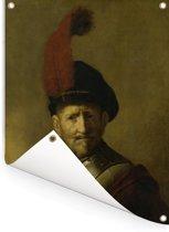 Portret van een man - Schilderij van Rembrandt van Rijn Tuinposter 120x160 cm - Tuindoek / Buitencanvas / Schilderijen voor buiten (tuin decoratie) XXL / Groot formaat!