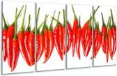Glas schilderij Paprika, Keuken | Wit, Rood, Groen | 160x80cm 4Luik | Foto print op Glas |  F007072