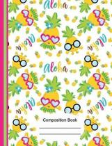 Tropical Aloha Cute Pineapple Composition Notebook Dot Grid Paper