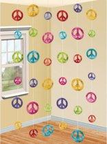 Hippie thema peace hangdecoratie 6 stuks