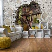 Fotobehang 3D Dinosaur Bursting Through Brick Wall | VEXXXL - 416cm x 254cm | 130gr/m2 Vlies