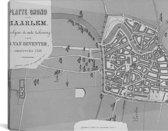Historische zwart witte plattegrond van Haarlem Canvas 160x80 cm - Foto print op Canvas schilderij (Wanddecoratie woonkamer / slaapkamer)