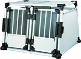 Trixie Transport Box Aluminium Dubbel - Transportkooi - 95 cm x 69 cm x 88 cm - Zilverkleurig/Zwart