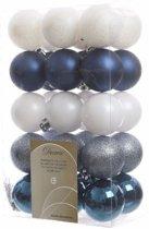 Kerstboom decoratie kerstballen mix blauw/wit 30 stuks