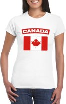 T-shirt met Canadese vlag wit dames XS