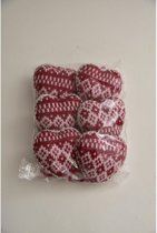 Kerstdecoraties - pb. a 6 knitted heart rood/wit
