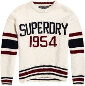 Superdry Intarsia Slouch Knit  Sporttrui - Maat L  - Vrouwen - wit/navy/rood