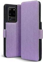 Samsung Galaxy S20 Ultra hoesje, MobyDefend slim-fit extra dunne bookcase, Paars - Geschikt voor: Samsung Galaxy S20 Ultra