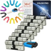 M & C Color Pro  Anti Kern & cilindertrek cilinder 32/32 set van 8 stuks skg***  gelijksluitend incl. 8 color Pro sleutels.