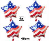 4x Folie ballon USA Stars and stripes