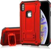 Let op type!! Schokbestendige PC + TPU Armor beschermende case voor iPhone XS Max  met houder (rood)