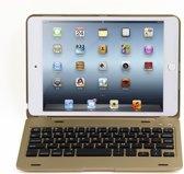 Shop4 - iPad Mini 4 Toetsenbord Hoes - Bluetooth Keyboard Cover Aluminium Goud