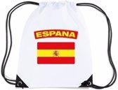 Spanje nylon rijgkoord rugzak/ sporttas wit met Spaanse vlag
