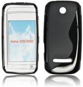 Image of Silicon Case Hoesje voor Nokia Asha 305 en Asha 306 -S-Line Black (8719321041648)