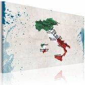 Schilderij - Kaart van Italië, Multi-gekleurd, 2 Maten, 1luik