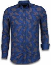Gentile Bellini Italiaanse Overhemden - Slim Fit Overhemd - Blouse Dotted Camouflage Pattern - Blauw - Maten: XXL