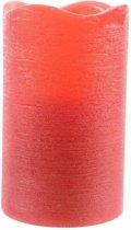 Rode waskaars warm wit LED - 7,5 x 10 cm - LED kaars