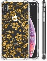 iPhone X | Xs Siliconen Hoesje Design Gouden Bloemen