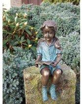 Bronzen Beeld - Tuinbeeld - Lezend Meisje - Bronzartes