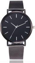 Joboly Vintage mesh horloge - staal - Ø 40 mm - Dames, Heren - Zwart