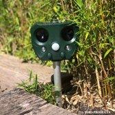 Premium Ultrasone Kattenverjager – Garden Protector Op Zonne-energie Met Oplaadbare Batterijen – kattenverschrikker – Muizenverjager – Waterproof – Inclusief Gratis Batterijen en USB Oplader