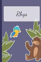 Rhys: Personalized Notebooks - Sketchbook for Kids with Name Tag - Drawing for Beginners with 110 Dot Grid Pages - 6x9 / A5