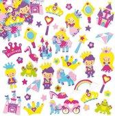 Foam stickers prinses - knutselspullen voor kinderen - scrapbooking verfraaiing om te maken en versieren kaarten decoraties en knutselwerkjes (120 stuks)