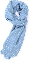 Lichtblauwe dunne viscose sjaal met witte stippen - Stijlvolle shawl voor buiten en binnen