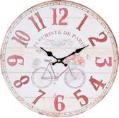 Wandklok - 6KL0409 - Clayre & Eef - fiets - opdruk - mdf - rond