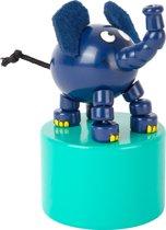 Small Foot Houten Drukfiguur Dansende Olifant 8 Cm Blauw