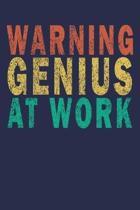 Warning Genius at work: Funny Vintage Coworker Gifts Journal