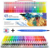 48 Water Brush Pennen met Aquarel Papier - Double Tip Penseelstift - Fineliners en Brushlettering