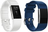 YONO Siliconen Bandjes - Fitbit Charge 2 - 2-pack Blauw/Wit - Small