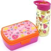 Broodtrommel + drinkfles Fruit   Lunchbox kinderen BPA vrij LS02
