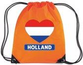 Oranje nylon rijgkoord rugzak/ sporttas Holland hart vlag